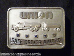 Vintage Sterling Union 76 Safe Driving Award With Oil Tanker And 4 Blue Stones