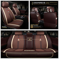Luxury Linen+PU Leather 5-Seats Car Cushion Seat Covers Full Front+Rear Cushion