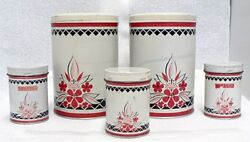 Vintage Two Tin Round Canisters And 3 Shakers