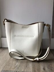 NEW Frye Harness Crossbody Bucket White Ivory Leather Bag Purse