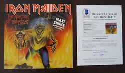 Iron Maiden Number Of Beast All 5 Band Signed 12 Lp Single Beckett Certified