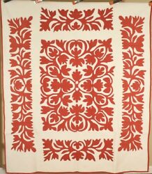 Museum Quality Vintage Pa Scherenschnitte Red And White Applique Antique Quilt