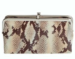 HOBO INTERNATIONAL LAUREN CLUTCH DOUBLE FRAME WALLET SAND SNAKE