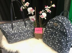 NEW! Michael Kors Jet Set Travel Large Tote Navy Floral Purse & Abbey Backpack