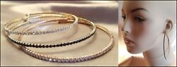 NEW GOLD BLACK ROSE GOLD PAVE CRYSTAL RHINESTONE ULTRA THIN LARGE HOOP EARRINGS $9.99
