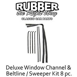 1964 - 1966 Chevy And Gmc Truck Deluxe Window Channel And Beltline Kit 8pc Black