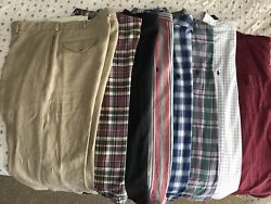 7 Mens Long Sleeved Collared Polo Shirts And Polo 100 Linen Dress Pants