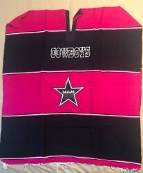 Dallas Cowboys Poncho New Pink And Black Adult Size