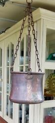 Antique Hammered Copper Civil Or Pre-civil War Cooking Pot With Iron Chain