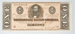1864 1 The Confederate States Of America Note Civil War Choice Uncirculated