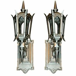 Fantastic Pair Of Hand Polished Cast Iron Sconces