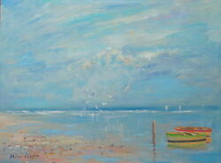 Well Listed Nino Pippa Original Oil Painting French Riviera Low Tide 12x16 Coa