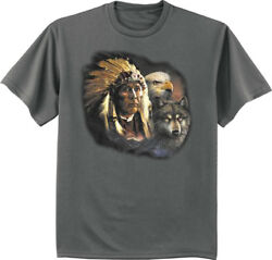 Big And Tall T-shirt Native American Indian Wolf Decal Tee King Size Mens Shirts