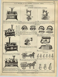 1908 Paper Ad Cast Iron Toys Milk Wagon Pony Cart Elephant Chariot Stove Sewing