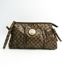 Gucci 197015 Women's GG Crystal Clutch Bag Brown BF327599