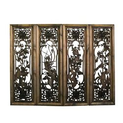 Chinese Set Vintage Distressed 4 Seasons Flower Wooden Wall Plaque Panels cs4381