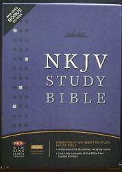 Like New, New King James Study Bible W/cd 2 Book Marks And Cross Pin Leather