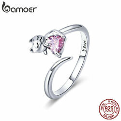 Bamoer Solid S925 Sterling Silver Finger Open Ring Adorable Cat Women Jewelry