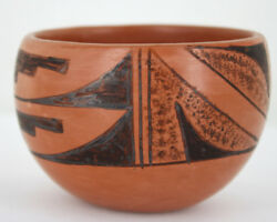 Vintage Hopi Native American Painted Red Clay Pottery Bowl Signed Clarice 16-50