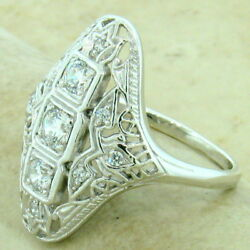 Art Deco 925 Sterling Silver Antique Style Cubic Zirconia Ring Size 8  1148
