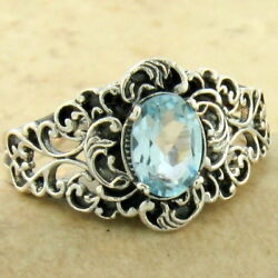 Genuine Sky Blue Topaz Victorian 925 Silver Antique Finish Ring Size 10 1154