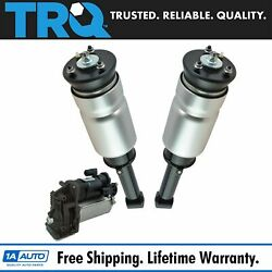 Trq 3pc Air Suspension Kit Front Shock Assemblies W/ Compressor For Land Rover