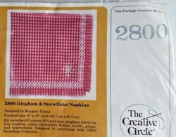 Red Gingham and Snowflake Napkin Embroidery Cross Stitch Kit Creative Circle