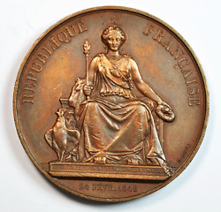 1849 France A Bovy Agriculture And Manufacturing Award 56.9mm Bronze Medal