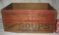 Antique Usa Country Store Campbells Vegetable Condensed Soup Tin Can Wood Box Us