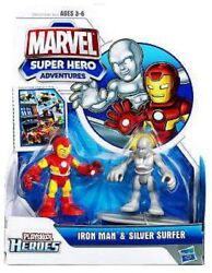 Super Hero Adventures Iron Man Andamp Silver Surfer Action Figure 2-pack