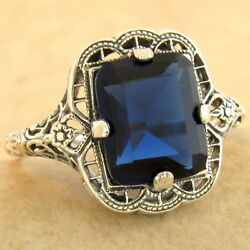 3 Ct Royal Blue Sim Sapphire 925 Sterling Silver Antique Finish Ring  1167