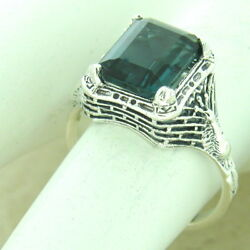 2 Ct London Blue Sim Topaz 925 Sterling Silver Antique Finish Ring  1172