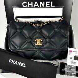 NEW AUTHENTIC CHANEL QUILTED LARGE CHESTERFIELD FLAP BAG Black NIB Leather Gold