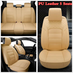 Beige Luxury PU Leather Car 5-Seat Seat Covers All Seasons Protector Cushion Mat