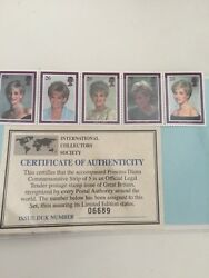 Princess Diana Stamp Collection Comes With Certificate Of Authenticity/nice