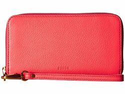 NEW Fossil Emma Cell Phone Wristlet Neon Tech Zip RFID Wallet Coral SL7243281