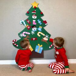 DIY Felt Christmas Tree New Year Gifts Kids Toys Artificial Tree Wall Hanging