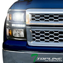 6000K HID XENON+BLK DRL LED HEADLIGHTS SIGNAL LAMP AM DY 2014-15 SILVERADO 1500