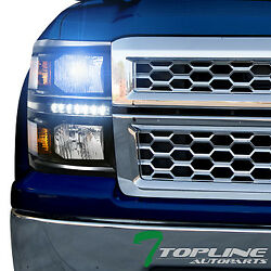 10000K HID XENON+BLK DRL LED HEADLIGHTS SIGNAL LAMP AM DY 2014-15 SILVERADO 1500