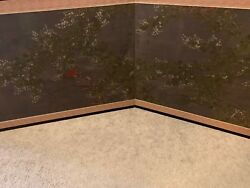 Antique Japanese Folding Screen Two Panel With Flowers Vintageandnbsp