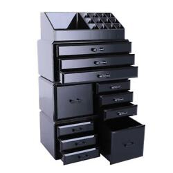 Drawers Containers Cosmetic Organizer Jewelry Storage Makeup Acrylic Case Black $26.95