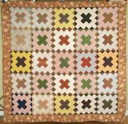 Large Elegant 1870and039s Album Patch Antique Quilt Early Fabrics And Chintz Border
