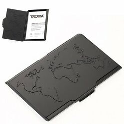 Troika BLACK GLOBAL CONTACTS BUSINESSNAME CARD CASE EMBOSSED WORLD MAP