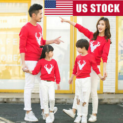 Deer Christmas Sweater Mommy Father Baby Family Matching Clothes Xmas Gifts US