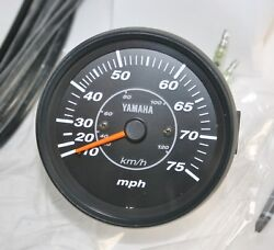 Speedometer Yamaha 6y7-83510-00 Mechanical 75mph Proseries Ii Outboard Black Oem