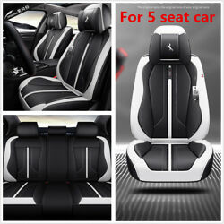 Car 5 Seats Cover Cushion Set 6D Surround Breathable Luxury Microfiber Leather