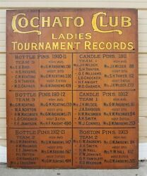 100+ Yr Old Beautiful Wooded Cochato Club Bowling Sign Braintree Massachusetts