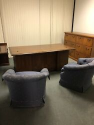 Traditional Style Executive L-shape Desk By Kimball Office Furniture In Mahogany
