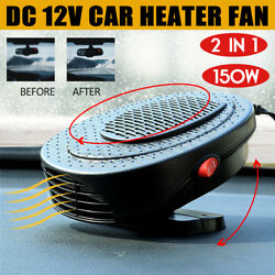 2 in 1 Car Fan Heater +Cigarette Lighter Cable Car Windscreen Defroster Cool Fan