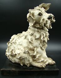 ART DECO ITALY GUIDO CACCIAPUOTI CERAMIC GLAZED FOX TERRIER DOG SCULPTURE ca1930